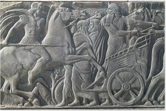 Poster Griekse oude alike plaquette bij Grote Alexander monument op Thessa