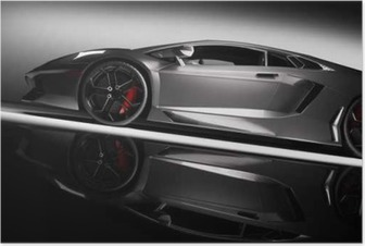 Poster Gris voiture de sport rapide sous les projecteurs, fond noir. Brillant, nouveau, luxueux.