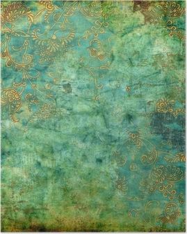 Poster Grön rostig tappning textur