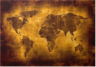 Poster Grunge carte du monde.