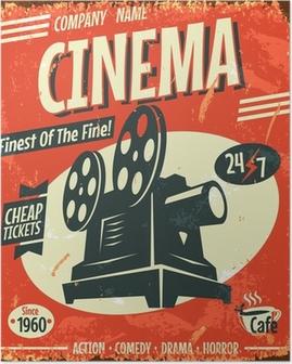 Grunge retro cinema poster. Vector illustration. Poster