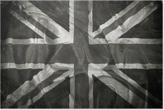Grunge Union Jack flag background Poster