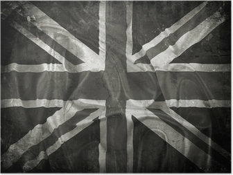 Grunge Union Jack flag background Poster