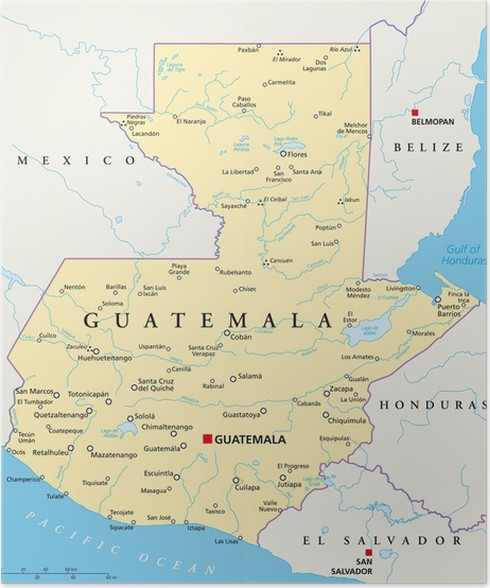 guatemala kart Guatemala Map (Guatemala Landkarte) Poster • Pixers® • We live to  guatemala kart