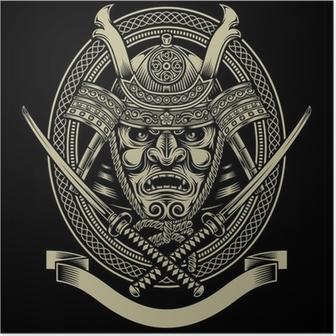 Póster Guerrero del samurai con la espada del katana