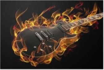 Poster Guitare électrique en feu et les flammes