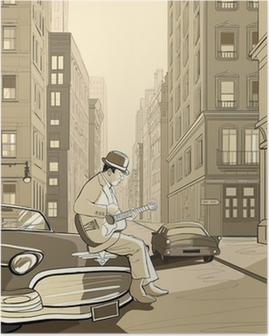 guitarist in an old street of New york Poster