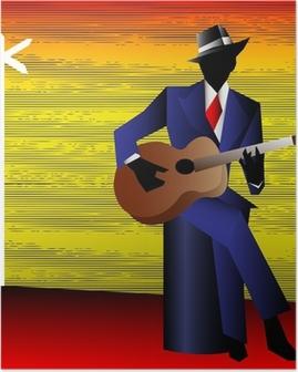 Poster Guitariste de blues à la croisée des chemins, vecteur de fond pour un Conce