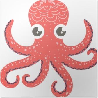 Poster Gullig illustration av bläckfisk för plantskola dekor, tryck och affischer, klotterstil illustration. vektor