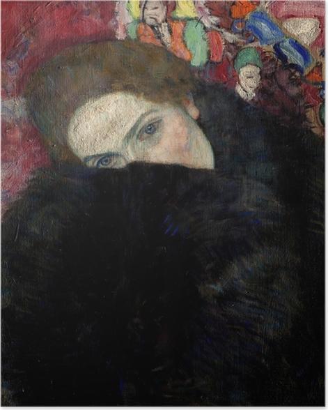 Poster Gustav Klimt - Dame avec un chapeau et un manteau - Reproductions
