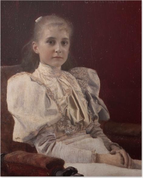 Poster Gustav Klimt - Jeune fille assise - Reproductions