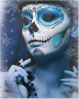 Poster Halloween maquillage crâne de sucre