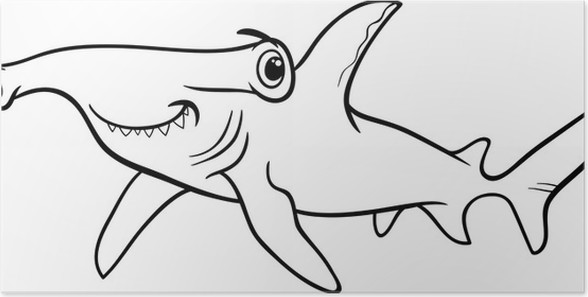 hammerhead shark coloring book Poster • Pixers® • We live to change