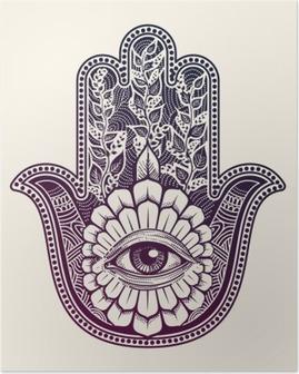 Poster Hamsa. de hand van Fatima, good luck symbool