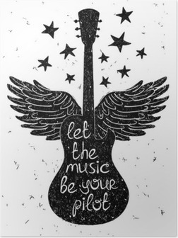 Hand drawn musical illustration with silhouettes of guitar. Poster