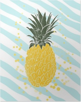 Hand drawn pineapple. Vector background Poster