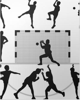 handball silhouette vector Poster