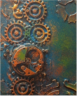 handmade steampunk background mechanical cogs wheels clockwork Poster