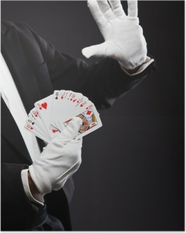 Hands of magician holding cards. Wearing black suit. Studio shot Poster