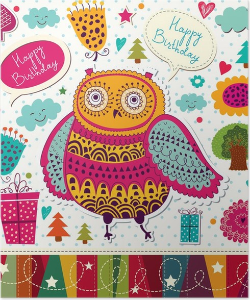 Happy Birthday Card With Funny Owl Poster Pixers We Live To Change