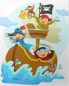 happy pirates sailing in their ship Poster