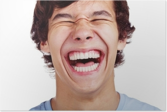 Happy teenage laugh closeup over white Poster