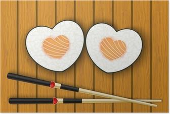Poster Hartvormige sushi en eetstokjes