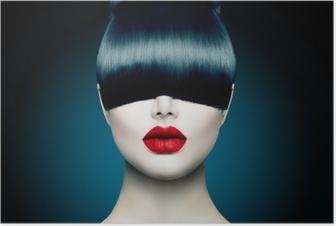 Poster Haute Portrait Girl Fashion Fringe Modèle avec la mode