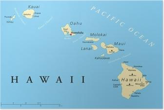Poster Hawaï-eilanden Politieke Kaart