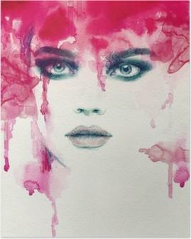 Beautiful woman. watercolor illustration Poster HD