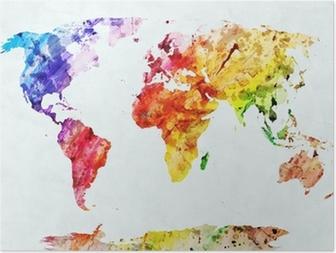Poster HD Carte du monde aquarelle