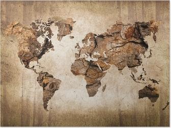 Poster HD Carte du monde vintage en bois