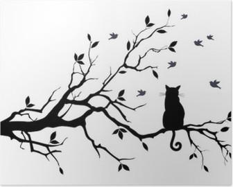 Poster HD Chat sur un arbre avec des oiseaux, vecteur