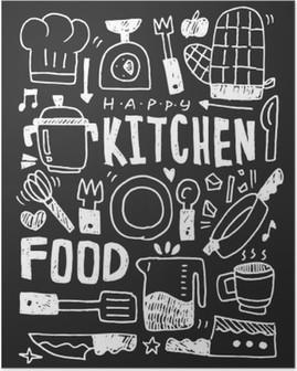 Poster HD Cuisine éléments doodles main ligne tracée icône, eps10
