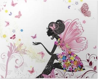 Poster HD Fée Fleur dans l'environnement de papillons
