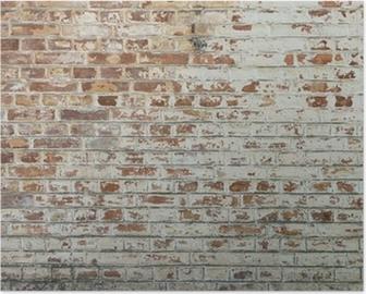 Poster HD Fond de vieux mur de brique sale vintage avec du plâtre pelage