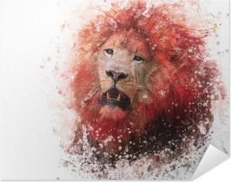 Lion Head watercolor Poster HD