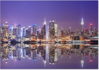Manhattan Skyline with Reflections Poster HD