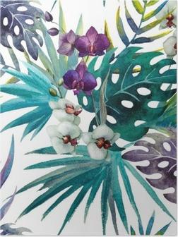 Poster HD Modèle de feuilles d'hibiscus orchidée, aquarelle