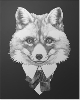 Portrait of Fox in suit. Hand drawn illustration. Poster HD