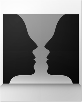 Head To Head Optical Illusion Poster