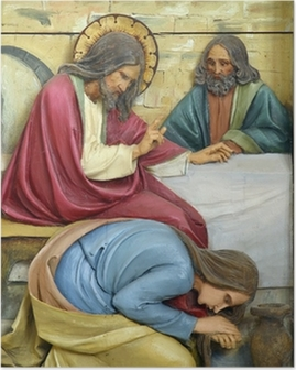 Poster Heilige Maria Magdalena was Jezus de voeten