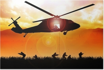 Helicopter is dropping the troops Poster