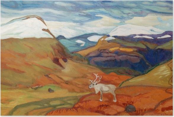 Poster Helmer Osslund - Paysage d'automne avec des rennes - Reproductions