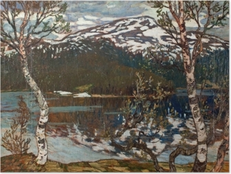 Helmer Osslund - Spring Day at the Lake of Rensjön near Åre Poster