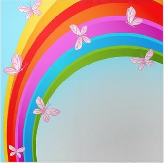 Poster Hemel regenboog met vlinder