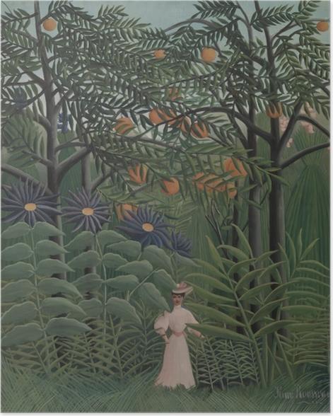 Poster Henri Rousseau - Een vrouw wandelt in het exotische bos rond - Reproducties