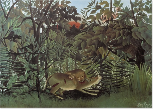 Henri Rousseau - The Hungry Lion Throws Itself on the Antilope Poster - Reproductions