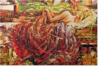 Poster Het slapende meisje getrokken door olie op een doek