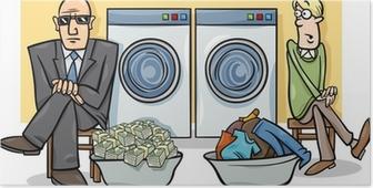 Poster Het witwassen van geld cartoon illustratie